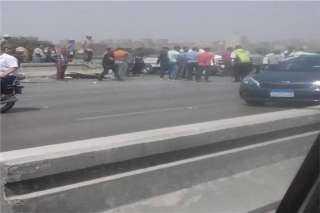 التفاصيل الكاملة لحادث تصادم 5 سيارات على طريق محور أكتوبر